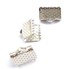 50 pieces 10x6mm Silver Plated Folding Crimps Connectors - A6700