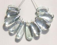 Green Quartz Smooth Polish Plain Long Pear Briolette Gemstone Beads