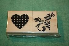 Set of 2 New Rubber Stamps Mounted On Wood, Michaels, Flowers and a Heart