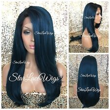 Lace Front Wig Human Hair Blend Long Straight Dark Green Teal Blue Black Roots