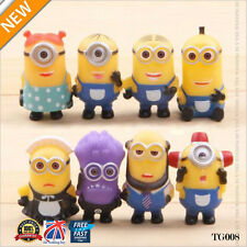 8pcs Cute Despicable Me 2 Minions Movie Character Figures Doll Toy Gift UK TG008