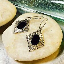 Genuine 925 Sterling Silver Black Onyx Gemstone Dangle Earrings