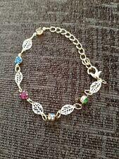 Leaf And Gem Design Gold Coloured Rhinestone Fashion Bracelet