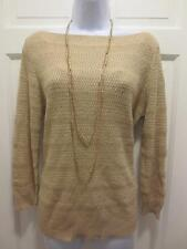 NWT $129 RALPH LAUREN Womens CASABLANCA GOLD Sparkle Boatneck SWEATER L Large