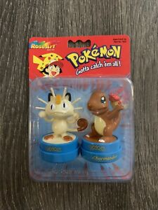 Vintage 1999 Roseart Pokemon Figurine Stamp Set Charmander Meowth