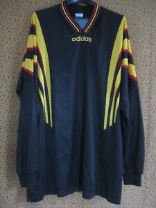 Maillot Adidas Noir jaune vintage 90'S Jersey Football Manche Longue jersey - XL