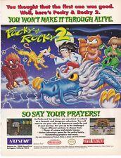 Original 1994 POCKY & ROCKY 2 SNES Super Nintendo video game print ad page
