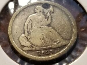 1837 Seated Liberty Silver Dime, no stars, holed      INV04     DL438