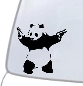 PANDA WITH GUNS Vinyl Decal Sticker Car Window Wall Bumper Macbook BANKSY ART
