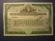 Old Vintage 1941 - NEW ENGLAND GAS & ELECTRIC ASSOC. - Stock Certificate