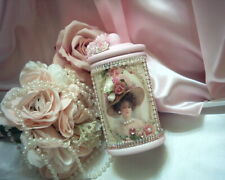 Shabby Victorian Chic Apothecary Jar~Victorian Portrait~Pink~Roses~Ooak