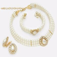 Cream Pearl Bead Choker Necklace Bracelet CLIP Earring Gold Jewelry Bridal Set