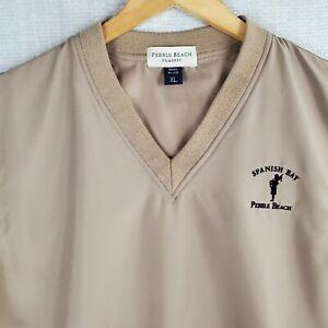 PEBBLE BEACH SPANISH BAY Size XL Made in USA Mens Kahki Vest Golf V Neck Casual