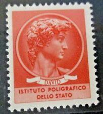 """SAGGIO """"DAVID"""" rosso ISTITUTO POLIGRAFICO DELLO STATO tipo SIRACUSANA 1963 MNH"""