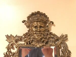 Antique Highly Ornate Gold/Brass Mirror, Faces Neptune & Winged Crown, Dolphins