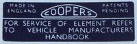 CLASSIC MINI - COOPER AIR FILTER STICKER - LMG1014