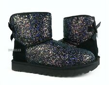UGG Classic Mini Bow Cosmos Black Glitter Fur Boots Womens Size 9 *NIB*
