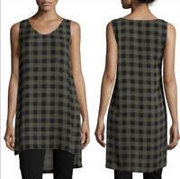 Eileen Fisher Sz M Petite Olive Green Buffalo Check Tunic Top EUC 100% Silk PM