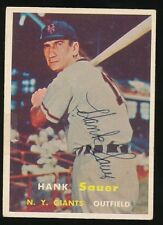 1957 Topps #197 HANK SAUER (New York Giants) d.2001 *AUTOGRAPHED*