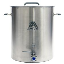 15 Gallon Stainless Steel Brew Kettle, Lid, Valve & Accessory Port - Induction