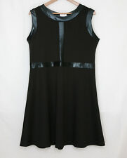 BLACK SLEEVELESS EVENING PARTY DRESS WITH PU PANEL TRIM SIZE 16