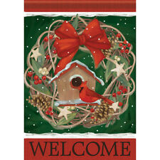 """Christmas Houseguest Welcome House Flag 28"""" x 40"""" Double sided by Carson"""