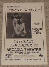 Original 1985 Johnny Winter Joe Kubek concert poster Arcadia Theatre Dallas