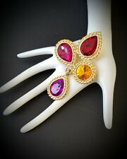 Vintage Maltese Brooch Pin matte gold tone jeweled multicolor glass