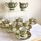 Vintage Noritake Porcelain Flowers & Gold Gilded 14 piece Coffee Set