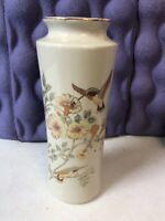 Vintage Hummingbird Floral Japan Porcelain Crackle Vase Gold Trim