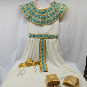 Womens Cleopatra Costume Ancient Egypt Egyptian Princess Blue sequence, crown