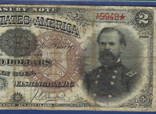 1890 $2 Treasury Note Fr-353 W/Low S/N ♚♚ A9948 ♚♚ Pmg Ch Fine 15 Rare Note!