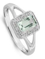 Aquamarine and Diamond Ring White Gold Emerald Cut Engagement Certificate