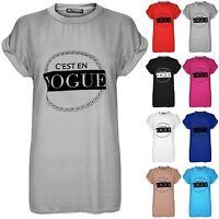 Womens C'esten Vogue Printed Baggy Tops Ladies Oversized Short Sleeve T Shirt