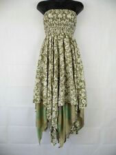 Indian Floral Two Layer Zig Zag Silk Style Rayon Summer Strapless Dress