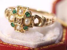 Vintage 9ct yellow gold Diamond Emerald Pearl ring