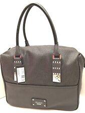 GUESS Handbag ~Rocker Geos~ Satchel Charcoal Tote Purse Shoulder Bag  $118 New