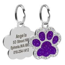 Etiquetas de perro personalizado grabado nombre de identificación de mascotas collar de perro etiqueta Bling Pata Brillo
