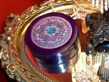 Vintage Aarong Handmade Sequin Bead Embroidered on Silk Jewelry Box Purple Black