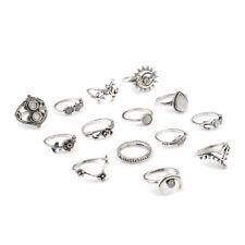 14 PCS BOHO Moon & Sun Knuckle Opal Finger Ring Leaf Flower Midi Rings Set CN69