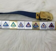 Cub Scouts Belt S-M 17 Metal Slide Badge Charms Brass Buckle BSA Made in USA T2