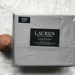 Lauren by RALPH LAUREN Luxury 100% Cotton Dunham Sateen KING Sheet Set Dove Gray