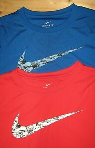 Boys sz S NIKE DRI FIT LONG SLEEVE BLUE / RED  PERFECT T-SHIRTS