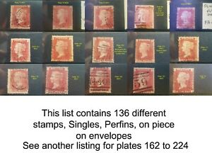 1864-79 1d Red Plates 71 - 161 SG43/4 Used Choice of stamps Discounts up to 30%