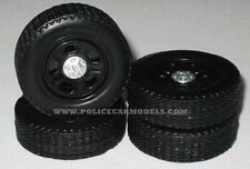 1/24 - 1/25  Ford 5 Spoke Rim & Tire Replacement Set For Model Police Cars #1535