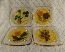 Vintage Acrylic Pressed Flowers Coaster Set