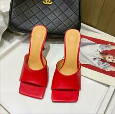 Soft Leather Casual Mules Thin High Heel Sandals Women Square Toe Slippers