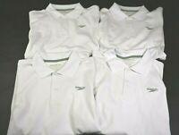 Speedo Men's Small Cotton Blend Short Sleeve Polo Shirt - White Lot of 4