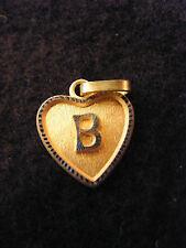 Pendentif Coeur Médaillon en Or Plaqué Lettre B 1,5 cm
