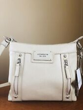 Liz Claiborne Est. 1976 Bone Colored Faux Leather Vegan Purse Crossbody Satchel